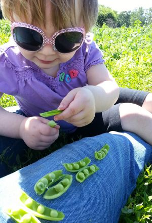 girl eating peas
